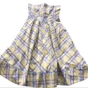 Anthropologie Maeve Yellow plaid strapless dress